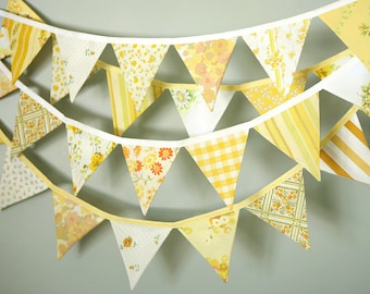 Yellow Bunting / Wedding Decoration / Fabric Bunting Banner / Pennant Flag Garland / Bridal Shower Decor / Rustic Garden Barn Wedding