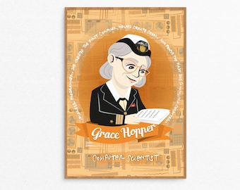 Grace Hopper, women in science poster, illustrated poster, women of science, gift for programmer, women of STEM portrait, Grace Hopper print