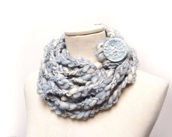 Loop Infinity Scarf Necklace, Knit and Crochet Scarflette Neckwarmer - light blue and cream white yarn with giant clay button