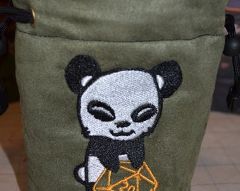 Dice Bag custom Embroidery Suede Panda rolling D20