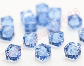 Light Blue Color 22 Square Cube Crystal Beads,Loose Jewelry cube Beads ,Square crystal beads Size 2mm 3mm 4mm 6mm 8mm 50 Colors U Pick