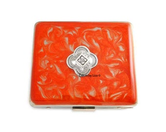 Weekly Pill Box Quatrefoil Inlaid in Hand Painted Orange Enamel Swirl Design Art Deco Inspired Personalized with Color Options