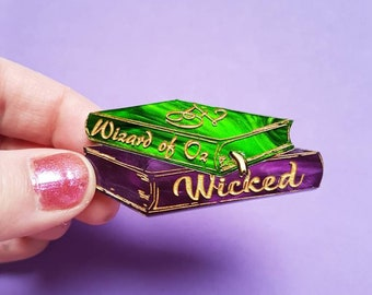 PRE-ORDER Wizard of Oz and Wicked inspired acrylic book brooch