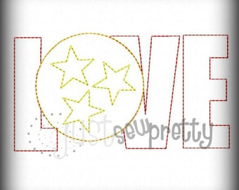 Love Circle Star Applique Redwork Embroidery Design