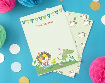 Personalised Boy's Jungle Thank You Cards -- Minimum order 8