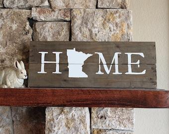 Minnesota HOME Sign, Reclaimed Wood, MN Home Sign, Minnesota artwork, Minnesota wall art, Wood Minnesota, MN wall art, Minnesota Gift,