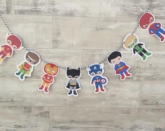 SUPERHERO garland Birthday Party Decorations Baby Shower Decorations, banner