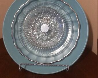 glass plate flower re-purposed  garden art