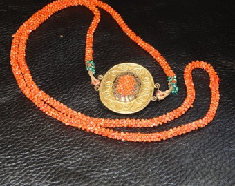 Antique Coral Necklace Handwoven Beads Chinese Circa 1900