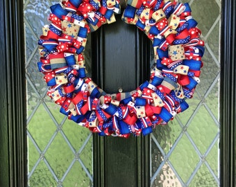 Red, White, & Blue Patriotic Ribbon Wreath