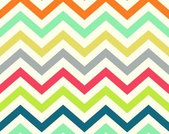 Chevron Fabric - Birch Organic Cotton Fabric - Just for fun Poplin - Skinny Chev Multi - Zig Zag Print - rainbow fabric