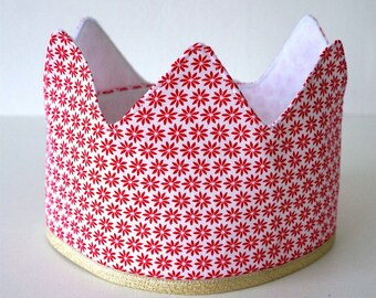 N E W | | Fabric Crown | | Red flowers