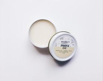 Tiger's Eye Solid Perfume | Natural Coconut Oil Perfume Balm | Green Tea Patchouli Amber Vanilla Musk