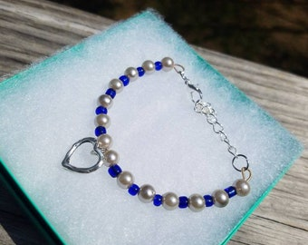 Blue beaded heart charm bracelet