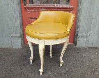1950s Vintage Swiveling Vanity Stool / French Provincial / Hollywood Regency / Mid Century Modern Style / Fancy Chair / Yellow Vinyl & Wood
