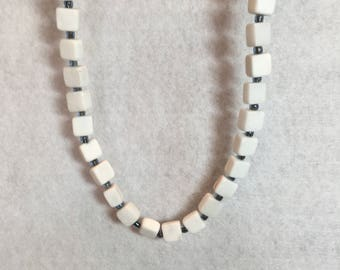 White cubed and light Blue Necklace