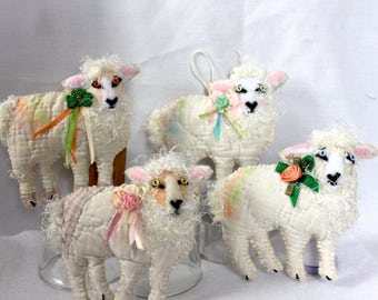 Irish Sheep Quilty Critters - Smaller Version - ONE per purchase - OOAK, Folk Art, Ornament, St Pats, Springtime, Easter