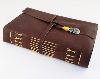 Small Owl Pocket Journal- pocket diary, leather journal, handmade notebook