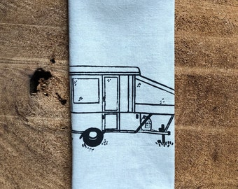 Pop Up Tent Trailer,Camper, RV, Screen Printed onto 100% Linen Tea Towel, Camping Lover Gift