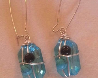 Teal and silver wire wrapped earrings