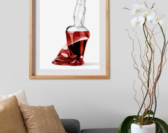 Misfit Bottles - 003 Print.  Black and White Photography, colored, red, decor, wall art, artwork, large format photo.