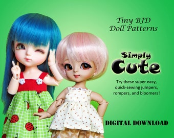 Simply Cute Jumper dress Romper clothes pattern for 16cm Tiny BJD: PukiFee Lati Yellow Tiny Delf & similar sized dolls