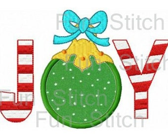 Christmas joy ornmanet applique machine embroidery design