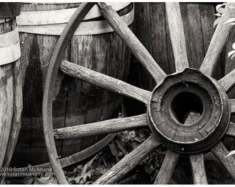Vintage Wheel & Barrel Black and White Photograph on Paper, Wall Art,  Archival Print, Home Decor, Rustic or Country Decor
