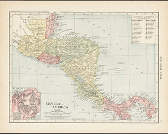 Map of Central America Map, 1911 Antique & Colorful Illustrated 11x14 Map (Reverse: Full-Page Isthumus of Panama Canal Map) No. 111-112