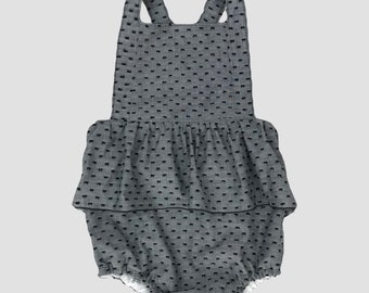 Gemma Summer Ruffle Romper for Girls - Black & Grey Swiss Dot