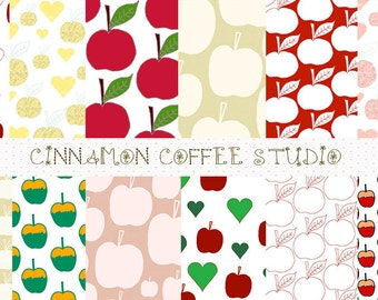 Apple Digital Papers, Cute Aplles Backgrounds, Apple Texture, Summer Fruits Backgrounds, Apple Papers, set of 12