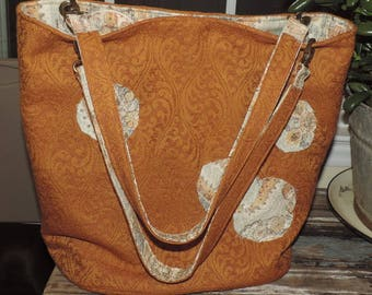 Romantic Rick Gold Swirling Scrolls with Signature Applique Circles Lined in Mutted Motif Cotton M Market Shopping Tote Bag Handles & Pocket