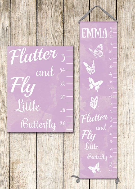 Butterfly Growth Chart in Lavender or Pink, Growth Chart Girl, Butterfly Nursery Decor - GC2000L