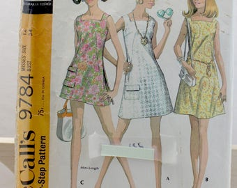 1969 Vintage McCall's 9784 Dress with Shorts Pattern