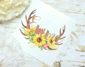 Antlers Sunflower Monogram Decal, Sunflower Decal, Watercolor Flowers, Glossy and Glitter Monogram Sticker, Tumbler Decal, Floral Decal