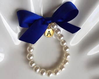 Flower Girl Gold initial charm bracelet, personalized girls bracelet,  custom made flower girl gift with any ribbon color