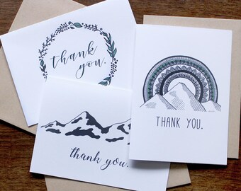 Thank You card 12 pack - thank you, illustration, outdoors, blank inside, mountain, adventure, wreath, mandala, sun, hand drawn, sherpa ant