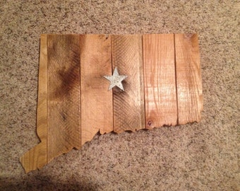 Connecticut, State of Connecticut, State of CT, CT cut out, Nutmeg State, Constitution State, Reclaimed Wood, Home State, Rustic Decor