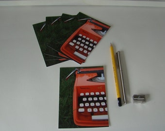 Postcards retro typewriter Orange-detail keys-5 pieces