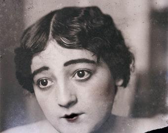 vintage photo Art Print Artist Model French Woman Classic Kewpie Face 1900