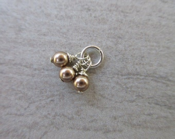 Swarovski Pearl dangles, 4mm round Bronze crystal pearl charms wire wrap on jump ring earring dangles bridesmaid charms 3 dangles