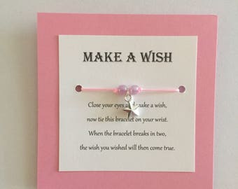 Make a Wish upon a star pink charm bracelet