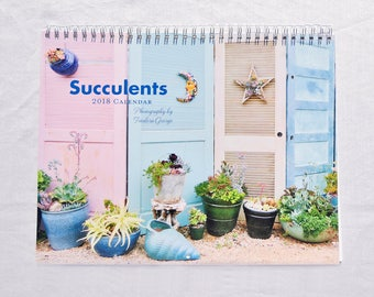 Succulents 2018 Wall Calendar, Succulent Calendar,  Wall Photo Calendar,  Plant Calendar