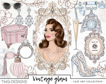 Glam Beauty Fashion Girl Clip Art Watercolor Clipart PNG Vintage Glamour Glitter Jewels Hand Drawn Illustration Planner Sticker Graphics
