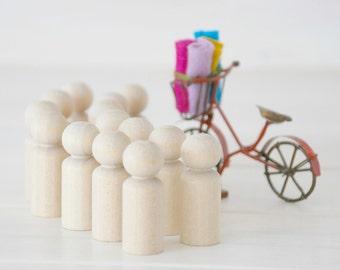 30 Wooden Peg Dolls - Unfinished Wooden People - Boy wooden doll - Set of 30 wooden boys in a Muslin Bag - DIY Crafts
