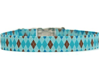 Blue Argyle Dog Collar / Martingale Dog Collar