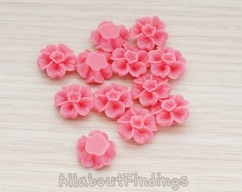 CBC138-HP // Hot Pink Colored Morning Glory Flower Flat Back Cabochon, 6 Pc