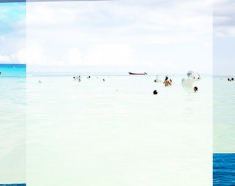 Original Fine Art Photography // Large Beach Photography // Turquoise Teal Print // Beach People Mexico // Beach Collage I