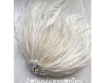 Champagne ivory feather fascinator bridal wedding fascinator wedding hair piece bride hair comb fascinator pearl rhinestone fascinator