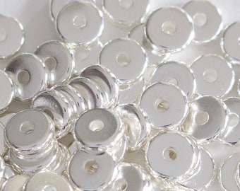 100 6mm Heishi Disks, TierraCast spacer beads, bright & shiny, small silver washers, 1.25mm hole, jewelry earring supplies, (100/pack) |i29|